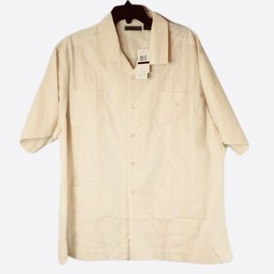 Cubavera Men's Embroidered Ivory Shirt XXL